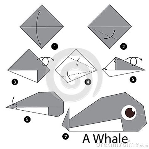 step by step origami animals step by step how to make origami whale stock