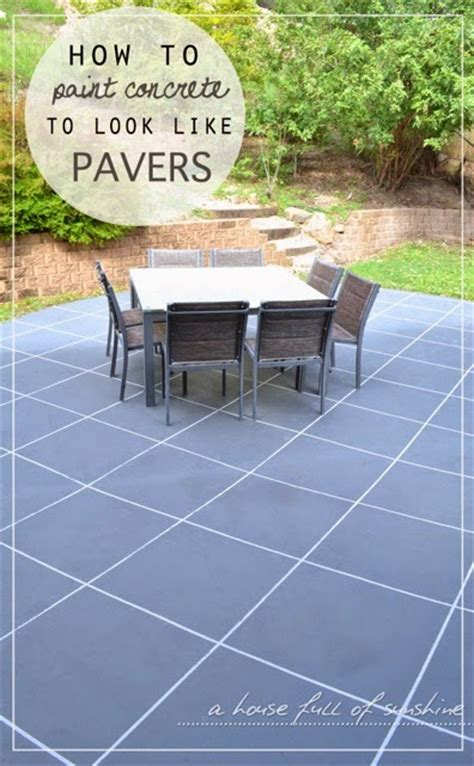 painting patio pavers backyard makeover how to paint concrete to look like