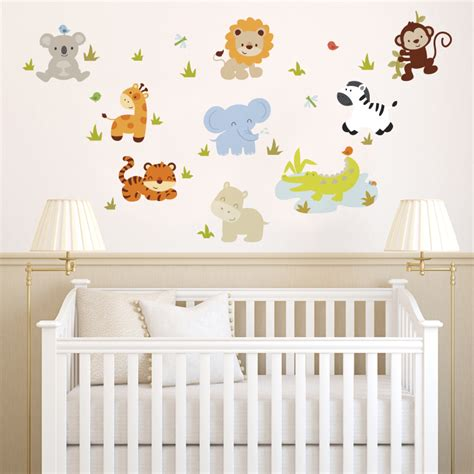 wall stickers baby room baby zoo animals printed wall decals stickers graphics