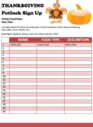 ideas stin up 12 thanksgiving potluck signup sheets with thankgiving