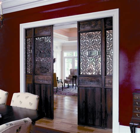 interior barn door for home with decorative carving room divider decofurnish