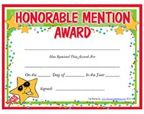 blank award templates free printable honorable mention awards certificates templates