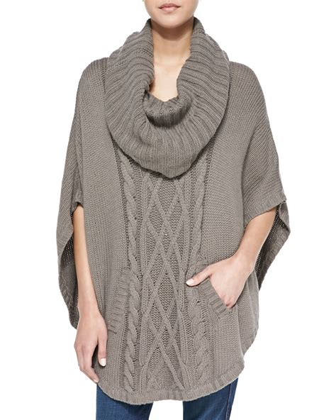 Autumn Cable Knit Cowl Neck Poncho In