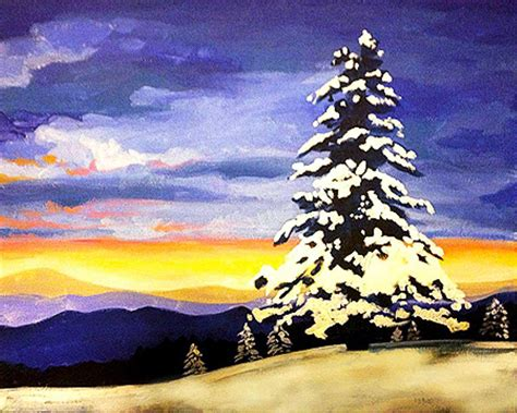 muse paintbar kitchen paint snowy evergreens at your local paint wine studio