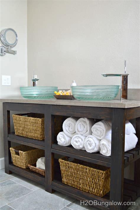 bathroom vanity open shelf diy open shelf vanity with free plans