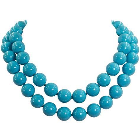 sleeping turquoise bead necklace fabulous faux two strand sleeping shade turquoise