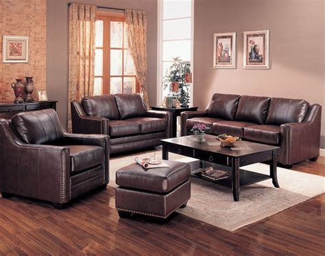live room set gibson leather living room set in brown sofas