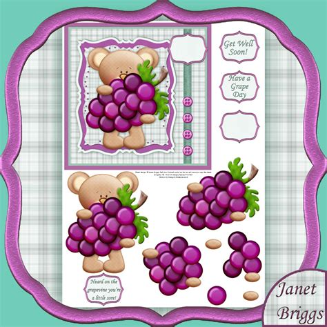 decoupage card get well grapes decoupage printed sheet 459kw