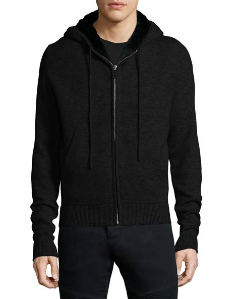 knitted hoodies yves salomon fur lined wool zip front knit hoodie