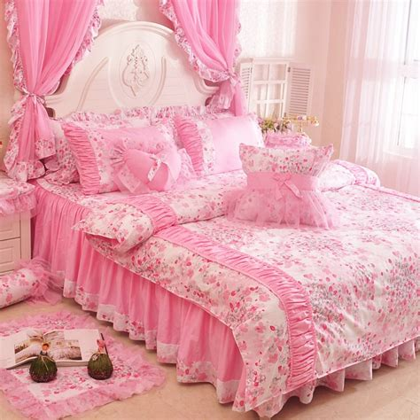 pink ruffle bedding new arrival pink lace ruffle bowtie duvet cover