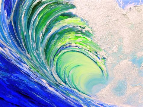 acrylic painting waves custom original acrylic wave decor painting