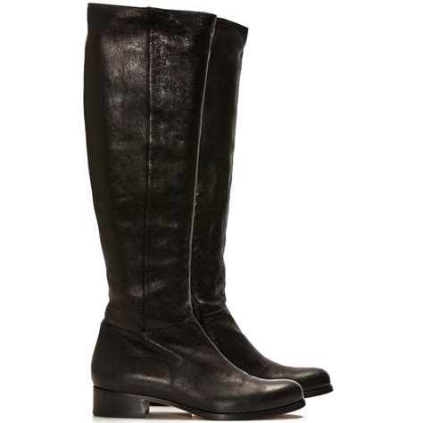 leather knee high boots for jimmy choo genna flat black leather fitted knee high boots cricket fashion boutique uk