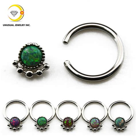 captive bead ring nose piercing opal nose ring septum clicker earring captive bead ring