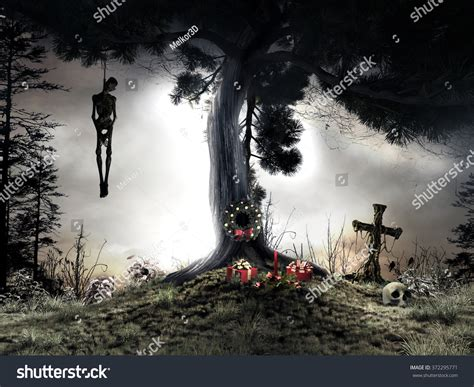 tree horror horror scenery with hanging tree and