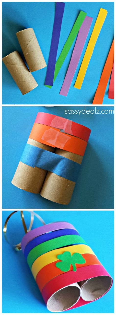 crafts made out of paper towel rolls rainbow toilet paper roll binoculars craft for