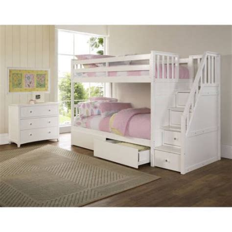 bunk beds white barrett stair wood bunk bed with storage