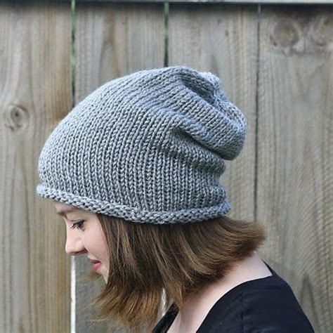 easy knit beanie she makes hats simple slouch hat knitting