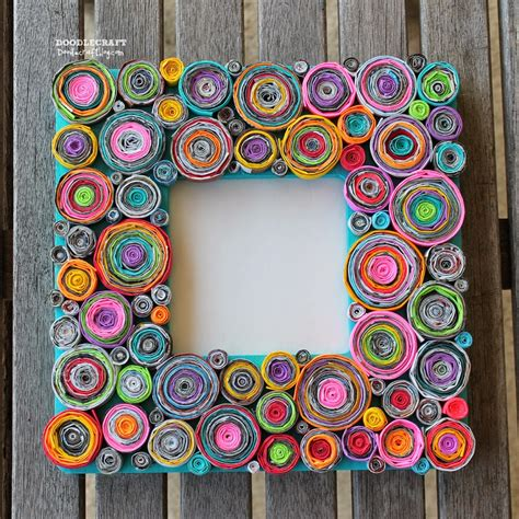rolled paper crafts doodlecraft upcycled rolled paper frame
