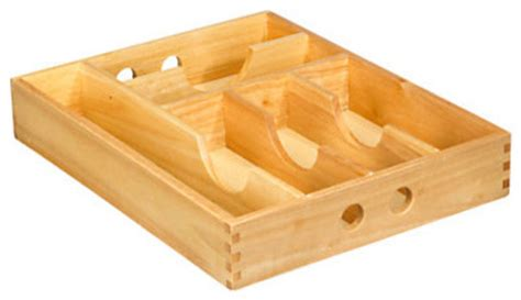 silverware rubber st rubberwood cutlery tray kitchen drawer dividers other