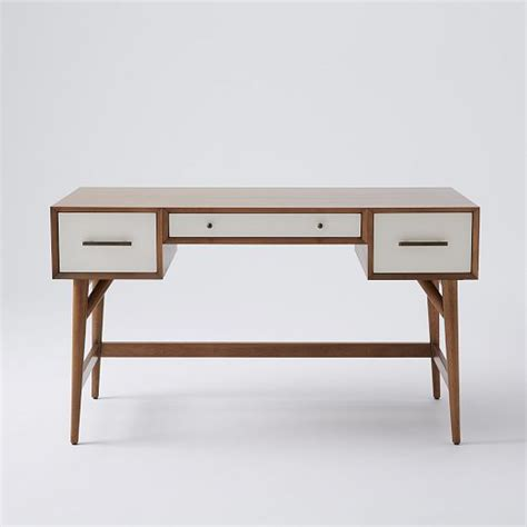 west elm white desk mid century desk acorn white west elm 桌