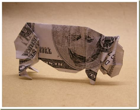 origami pig dollar cool money origami pictures cool things collection