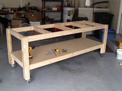 build woodworking bench i like the casters on this one mobile is garage