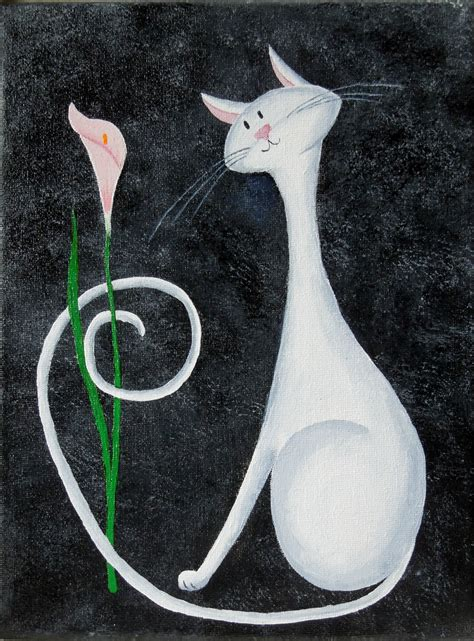 simple cat painting ideas my new cat painting white cat with a flower