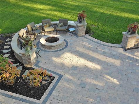 paver patio with pit outdoor paver pit ideas cleveland