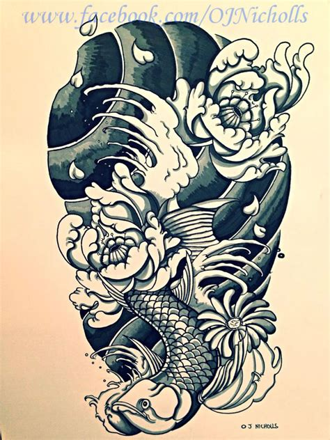 arowana fish japanese sleeve by onichollsart on deviantart