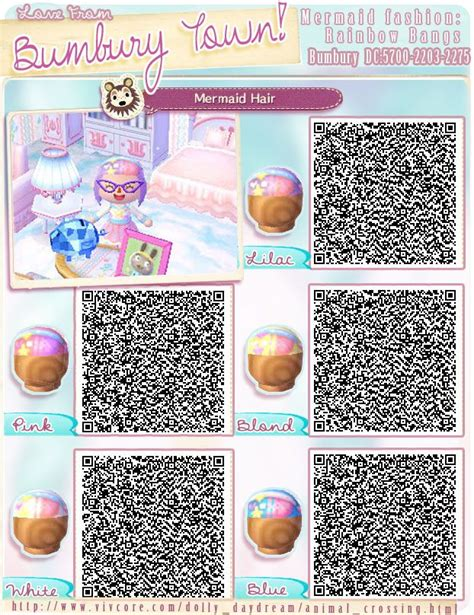 animal crossing new leaf qr codes hair bumburytown added a few more mermaid themed qr codes to