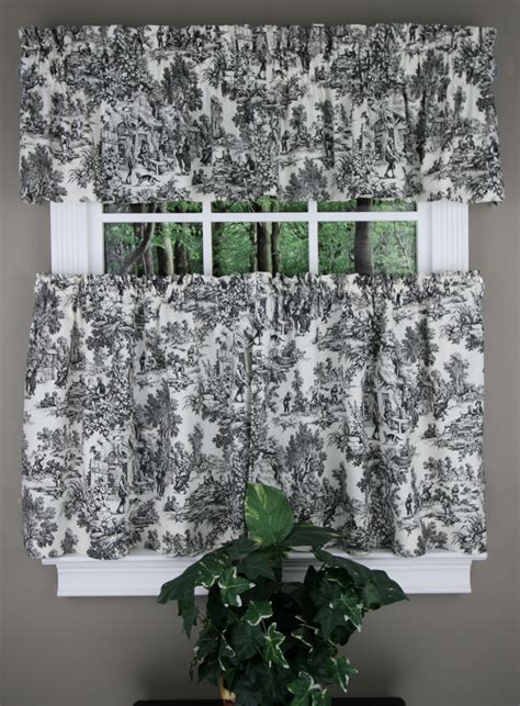 toile kitchen curtains park toile tiers tailored valance black