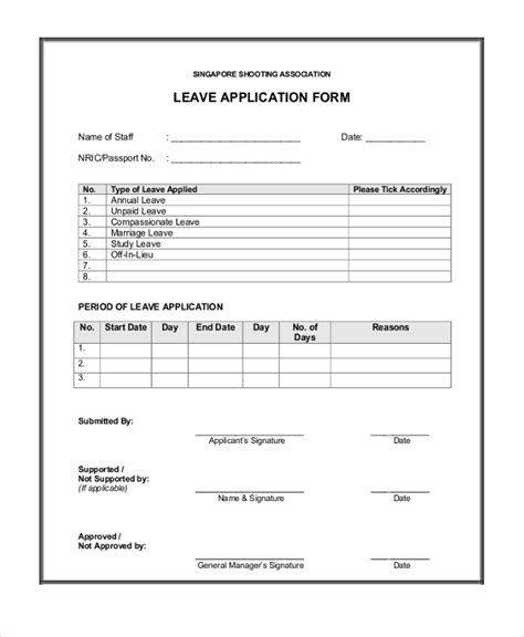 as an form sle leave application form 10 free documents in pdf doc