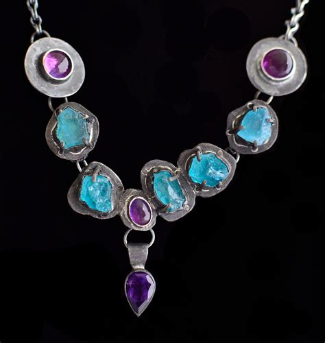 about jewelry 17 apatite amethyst prong set necklace 2 jewelry