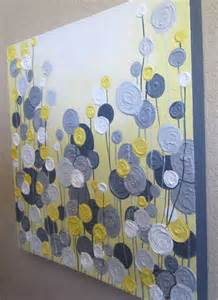 acrylic painting diy yellow gray and white textured flower 24x30 ready