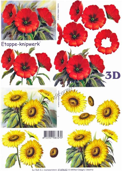 flower decoupage poppies sunflower flowers 3d decoupage craft sheet