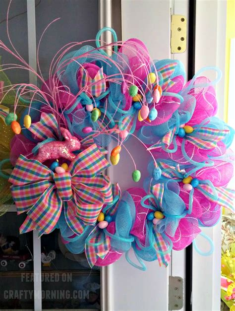 decorations with deco mesh easter deco mesh wreath crafty morning