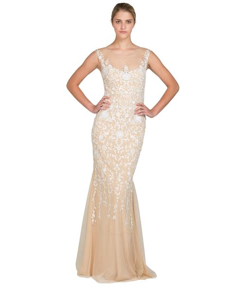 gold beaded gowns badgley mischka beaded crepe evening gown in metallic lyst