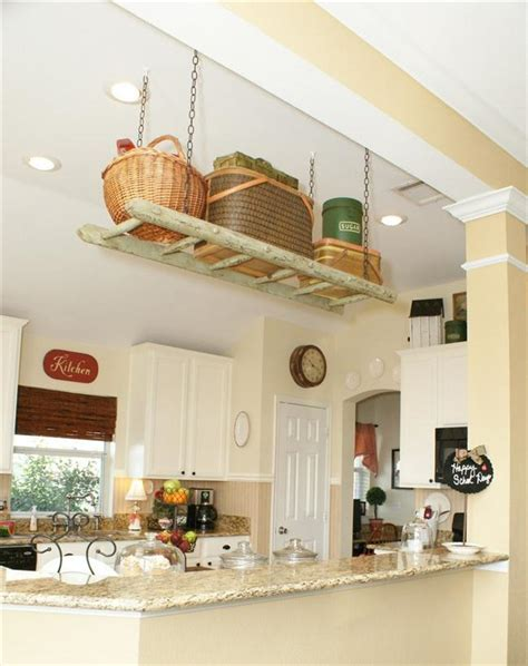 Bright Kitchen Color Ideas diy ladder shelf ideas easy ways to reuse an old ladder