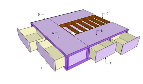 king bed frame with drawers plans king size bed frame plans with drawers pdf woodworking