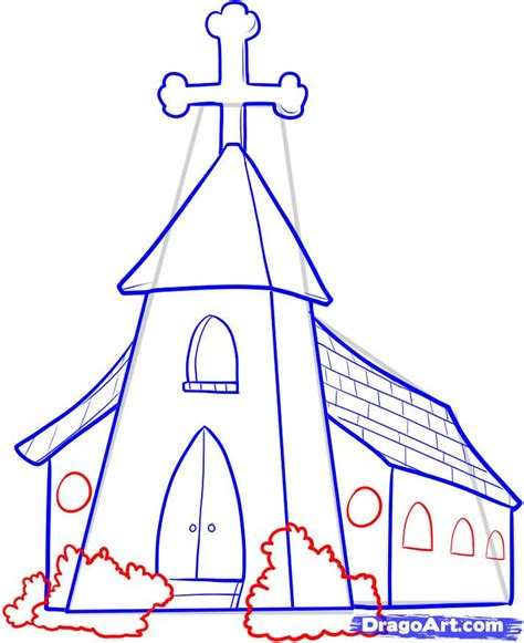 How To Draw A Church Step By Step Buildings Landmarks