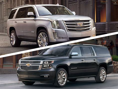 Chevrolet And Cadillac by 2017 Cadillac Escalade Vs 2017 Chevrolet Suburban Which