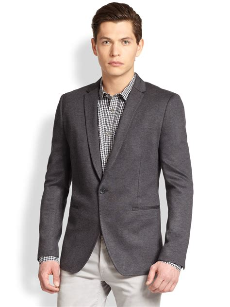 mens knit blazer theory stirling knit blazer in gray for charcoal lyst