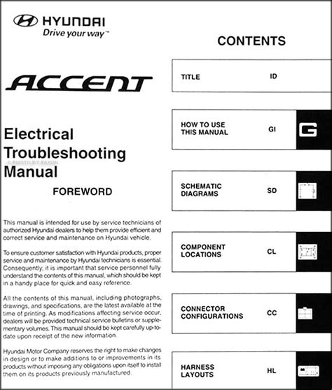 vehicle repair manual 2006 hyundai accent security system 2007 hyundai accent electrical troubleshooting manual original