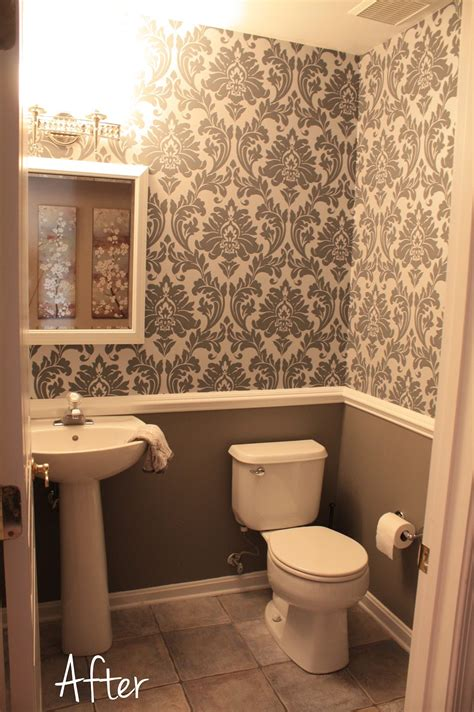 bathroom chair rail ideas small downstairs bathroom like the wallpaper and chair rail idea mostly gray with a bit of