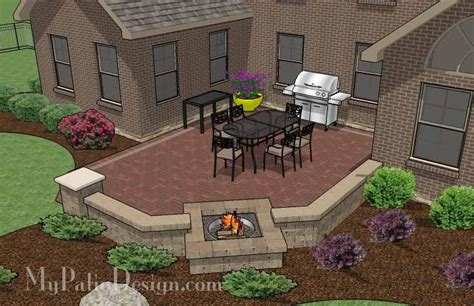 brick patio designs with pit courtyard brick patio design with pit and seat wall