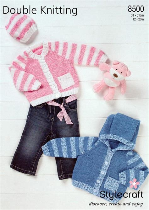 stylecraft knitting patterns to stylecraft 8500 knitting pattern cardigans hat in