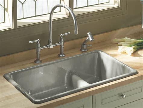 the counter kitchen sinks kohler k 6625 0 iron tones smart divide self or