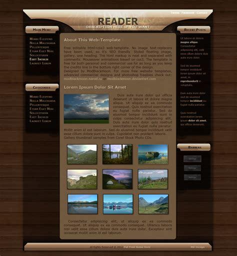 woodwork websites modblackmoon free grunge html css web template