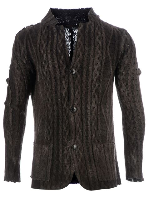 grey cable knit cardigan avant toi cable knit cardigan in gray for grey lyst