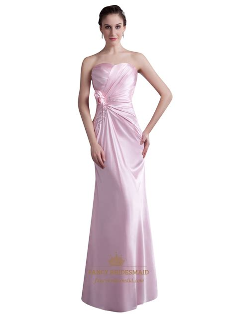 pink beaded dress pink sweetheart sheath bridesmaid dress with flower and